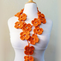 Crochet Flower Scarf - ORANGE - hand crocheted - lariat - Spring / Summer necklace scarf