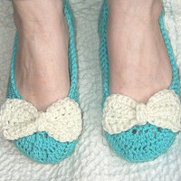 Tiffany Box Inspired Ladies Slippers , Tiffany Blue House Shoes , Bow Slippers , Mother's Day Gift , Spring Crochet Slippers