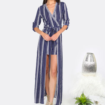 Striped Maxi Skirt Romper NAVY | MakeMeChic.COM