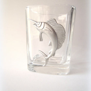 Pewter ocean sailfish crest on shot glass, man cave, nautical gift, ocean creature, conservationist gift,Pacific ocean fish,barware,sailor.