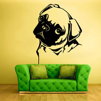 Wall Decals Vinyl Sticker Animals Dog pug Head Face (z1271)