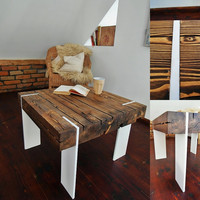 Modern Coffee Table Reclaimed wood corian Decor Handmade