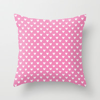 Small white hearts on pink Throw Pillow by EML - CircusValley