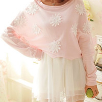Flower Patched Sweater and Ball Gown Dress Set