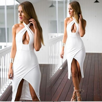 Spaghetti Strap Hollow Out Sexy Prom Dress One Piece Dress [4919730628]