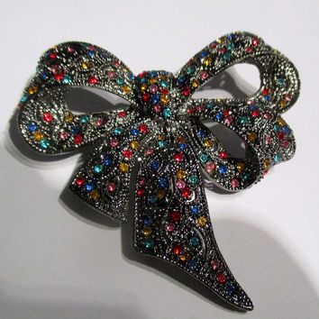 Vintage Brooch Pin// Multi-color Black Red Blue Crystals//unique gift for her// new old stock//  vintage jewelry