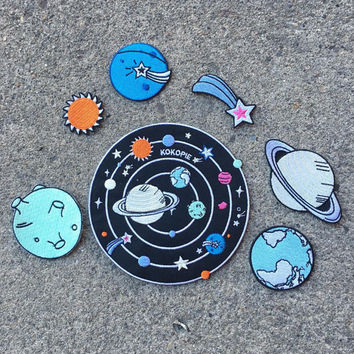 Aliens Solar system iron on patch set
