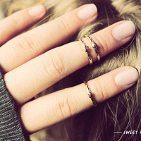 3 Tiny Heart, Star, and Circle Midi Ring, Above Knuckle ring, , twist ring