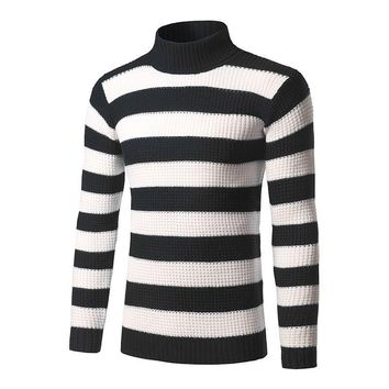 autumn winter men fashion striped turtleneck sweaters pullovers men casual slim sweaters pullovers