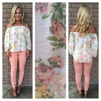 Pastel Floral Off Shoulder Top