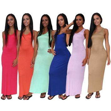Women's Casual Tank Maxi Dress 6 PACK MADE IN USA