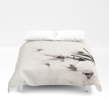 Monochrome Blossoms Close-up Duvet Cover by ARTbyJWP