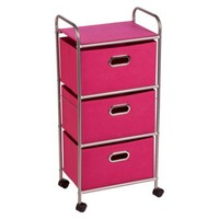 Honey-Can-Do 3-Drawer Rolling Cart - Chrome/Pink