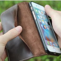 Natural Real Genuine Leather Wallet Case For iPhone 7 6 6S Plus Cell Phone Retro Vintage Flip Cover Matte/Oil Skin With Clasp