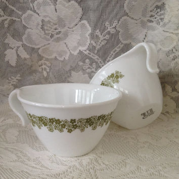 1970s  Corelle Crazy Daisy Spring Blossom Tea Cups, Avocado Green Blossoms, 2 Vintage Corning Cups