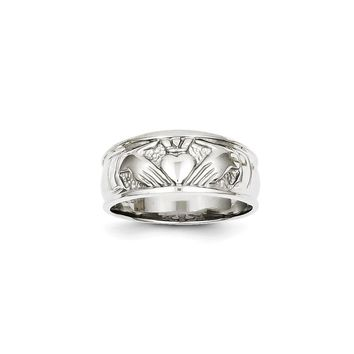 14k White Gold Ladies Polished Claddagh Ring