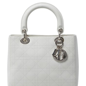 Christian Dior Women's White Cannage Quilted Lambskin Lady Dior Medium