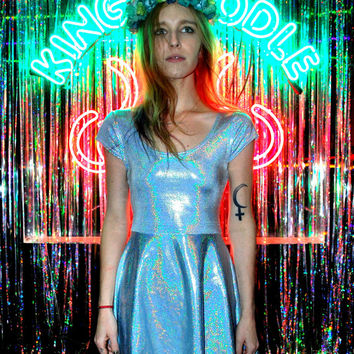 Hologram Blue Pixie Dust Skater Dress by DEVOWEVO