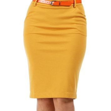 Mustard-Yellow Belted Pencil Skirt