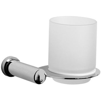 Lisa Wall Frosted Glass Toothbrush Toothpaste Holder Bath Tumbler, Solid Brass