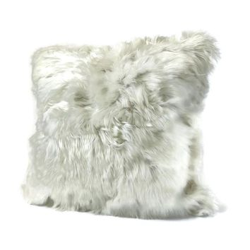"White Baby Alpaca Fur pillow cover. 20"" x 20"". Fur on 2 sides.FREE SHIPPING."