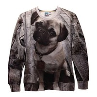ZLYC Pug Dog Photographic Art Print Casual Sweatshirt