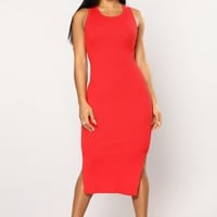 Delina Knit Dress - Red
