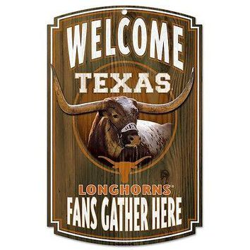 "TEXAS LONGHORNS BEVO MASCOT WELCOME FANS GATHER HERE WOOD SIGN 11""X17'' WINCRAFT"