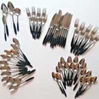 Mid Century Ekco Eterna Ebony Black Stainless Steel Flatware Mixed Lot 61 Piece