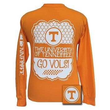 SALE Tennessee Vols Preppy Frame Logo Bright Long Sleeves T Shirt