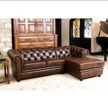 Tuscan Tufted Top Grain Leather Chaise Sectional