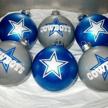 Dallas Cowboys Football Team Glitter 6PC Glass Ornament Set