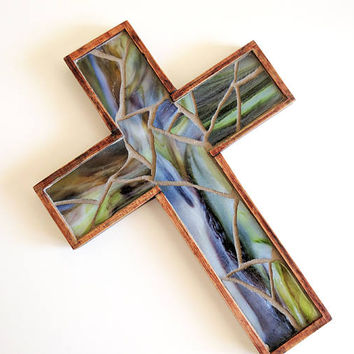 Primitive Multicolored Wooden Wall Cross, Green Stained Glass Mosaic Hanging Cross