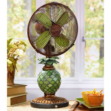 Table Fan/Lamp - Mosaic Glass Pineapple