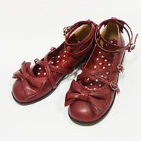 Tea Party Shoes (M) - Wine [142SH10-19346-boM] - $145.00 : Angelic Pretty USA