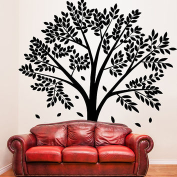 Unique Tree with Falling Leafs Vinyl Wall Sticker, Art Decor Removable Decal for Home, Window, Room or Apartment.