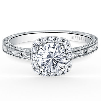 "Kirk Kara ""Carmella"" Cushion Halo Round Cut Diamond Engagement Ring"