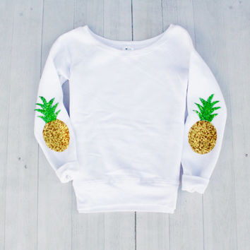 Womens Sweatshirt Sequin Pineapple Elbow Patch Pullover Sweatshirt Sweater Jumper Yoga Shirt Fall Holiday Fashion Elbow Patch Tumblr
