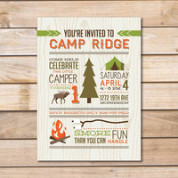 Child's Birthday Party Invitation - 5x7 Printable PDF Digital File OR Custom Printed Hardcopies - Camping Boy Girl Scout Outdoor Design