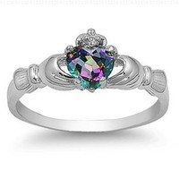 9MM 2ctw Sterling Silver FIRE Rainbow Topaz Mystic HEART Royal Claddagh Irish Ring (Whole sizes 4-12 & Half sizes 5.5, 6.5, 7.5, 8.5, 9.5, 10.5)