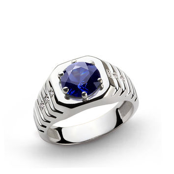 925 K Sterling Silver Men's Ring with 2.40 ct Sapphire and 0.03 ct Diamonds