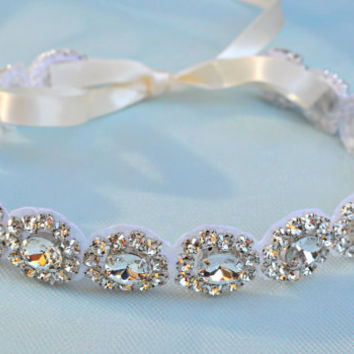 Ready To Ship - Headband - Ribbon - Crystal - Accessories - Bridal - Wedding - Rhinestone headband