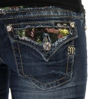Miss Me Juniors' Camo Sequin Camouflage Inlay Jeans Denim 28