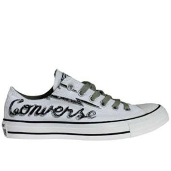 Converse Chuck Taylor Branded Print White Ox Trainers - Buy Online at Grindstore.com
