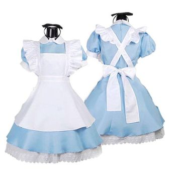 Sexy Lolita French Maid Halloween Cosplay Costume Dress For Adult Girls