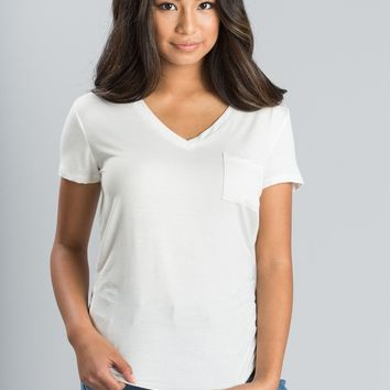 Lisa White V-Neck Pocket Tee
