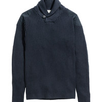 H&M - Rib-knit Sweater - Dark blue - Men