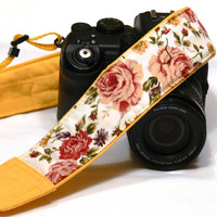 Roses Camera Strap. DSLR Camera Strap. Canon Nikon Camera Strap. Yellow camera strap. Camera Accessories