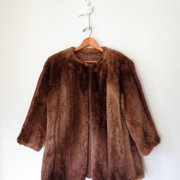 50s Fur Coat // Vintage 1950s Swing Coat // Brown Rabbit Fur Jacket // Medium - Large