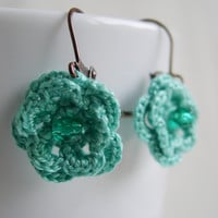 mint flower earrings - mint floral earring - bridesmaid cute earrings from MaryK Creations